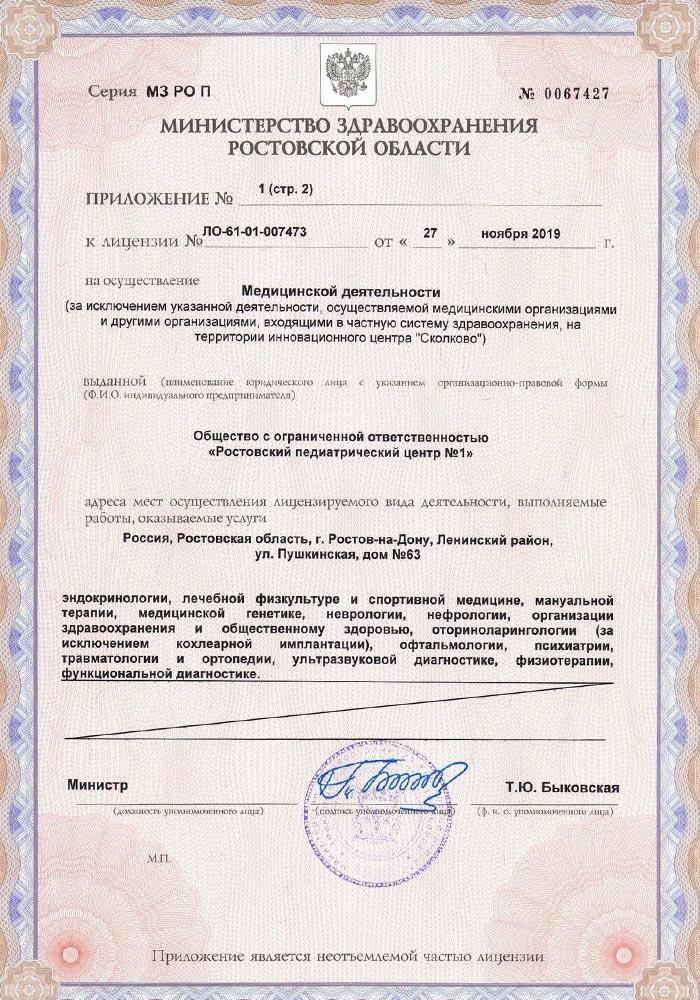 Лицензия Ростовский Педиатрический Центр №1 Скан